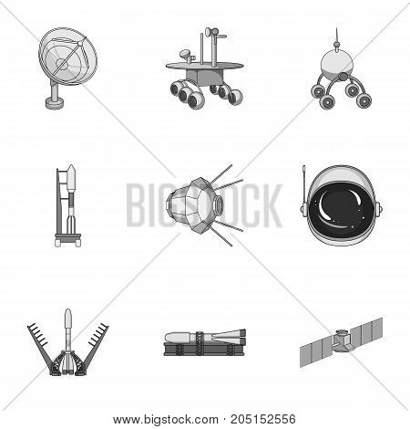 Space ship, Lunokhod, spacesuit and other equipment. Space technology set collection icons in monochrome style vector symbol stock illustration .