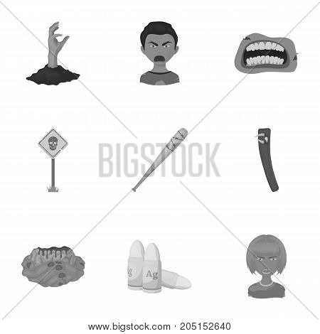 Apocalypse , rotten, woman, and other  icon in monochrome style.Scary, skin, man, icons in set collection.