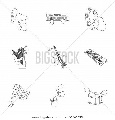 Musical instrument, garbage and ecology, electric appliance and other  icon in outline style. Megaphone, finishing checkered flag, gesture and manipulation with hands icons in set collection.