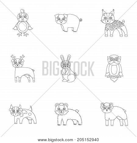 Farm, production, zoo and other  icon in outline style. Animals, nature, forest
