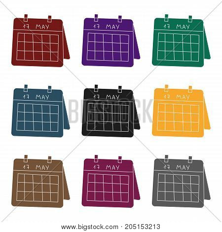 Calendar icon in black design isolated on white background. Conference and negetiations symbol stock vector illustration.
