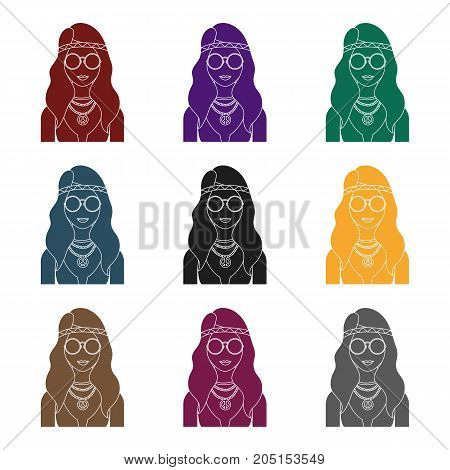 A hippie girl with glasses with beads.Hippy single icon in black style vector symbol stock illustration .