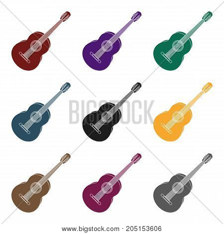 Yellow guitar.Hippy single icon in black style vector symbol stock illustration .