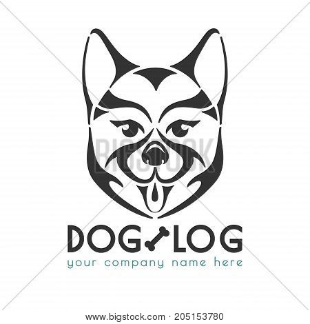 Dog logo template vector illustration. Isolated black silhouette of dog's face. Icon and symbol for your business: pet shop or club, vet clinic, shelter, grooming services etc. Original emblem for any ocassion