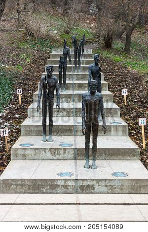 PRAGUE CZECH REPUBLIC - FEBRUARY 02 2014: The Memorial to the victims of Communism. Sculptor Olbram Zoubek architects Jan Kerel and Zdenek Holzel.