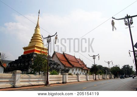 Golden Chedi Of Wat Phra That Chang Kham Worawihan In Nan, Thailand