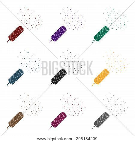 Holiday firecracker salute.Party and parties single icon in black style vector symbol stock web illustration.
