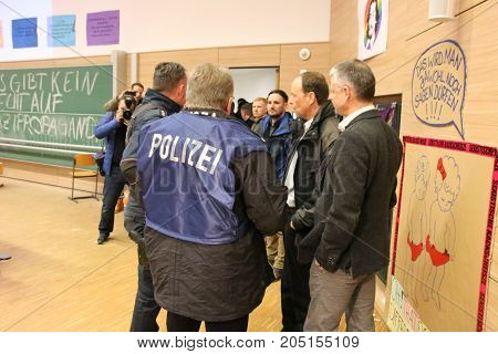MAGDEBURG, GERMANY - JANUARY 11, 2017: Student protests at the Otto-von-Guericke University in Magdeburg against a lecture by the youth organization of the populist party AfD.