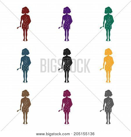 Cavewoman with stone tool icon in black style isolated on white background. Stone age symbol vector illustration.