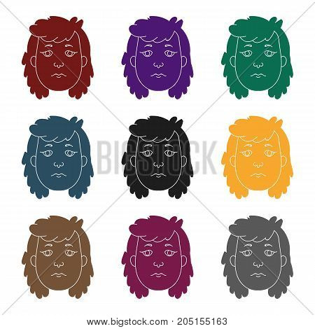 Cavewoman face icon in black style isolated on white background. Stone age symbol vector illustration.