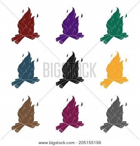 Campfire of stone age icon in black style isolated on white background. Stone age symbol vector illustration.