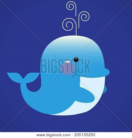 Blue smiling whale cartoon character with water fountain blow. Vector illustration