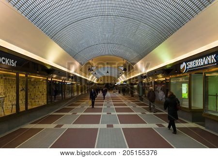 PRAGUE CZECH REPUBLIC - FEBRUARY 03 2014: Modern a shopping arcade connects the New Town and Old Town of the Prague