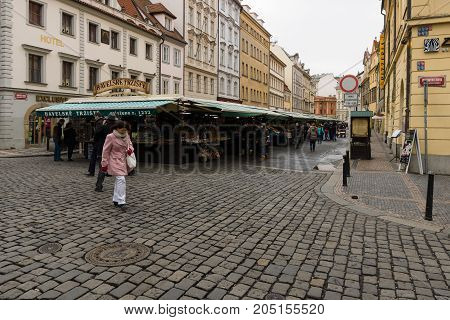 PRAGUE CZECH REPUBLIC - FEBRUARY 03 2014: Market Square in the heart of Old Town of the Prague