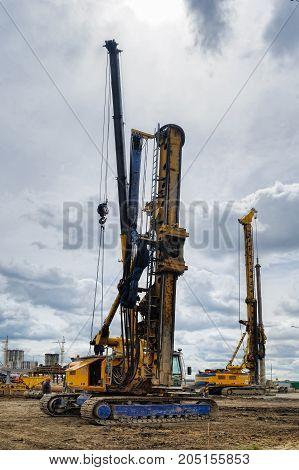 Construction Equipment In Action. Tyumen
