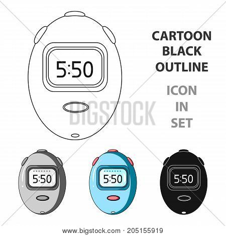 Stopwatch for calculating time and speed of travel.Cyclist outfit single icon in cartoon style vector symbol stock web illustration.