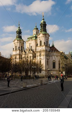 PRAGUE CZECH REPUBLIC - FEBRUARY 03 2014: St. Nicholas Church at the Old Town Square in the heart of Old Town of the Prague.