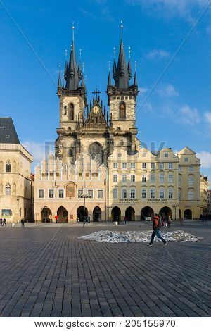PRAGUE CZECH REPUBLIC - FEBRUARY 03 2014: The Church of Mother of God in front of Tyn. The Old Town of Prague