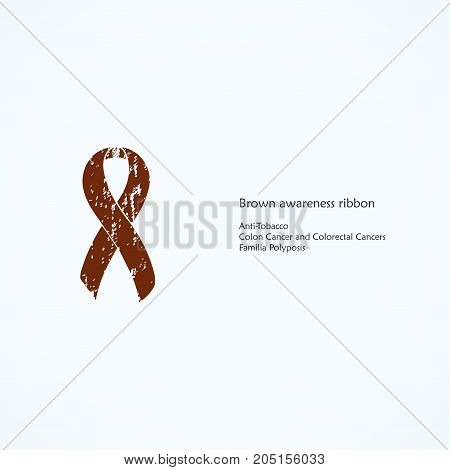 Brown Awareness Ribbon. Painted. Anti-Tobacco, Colon Cancer and Colorectal Cancers, Familia Polyposis. Isolated icon. List of meanings, symbol, name of color.