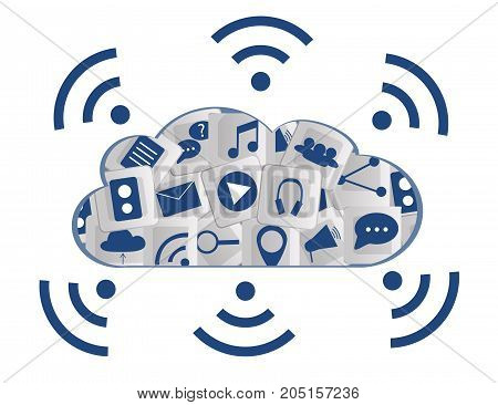 Modern Cloud Services and Cloud Computing Elements Concept. Flat Illustration.