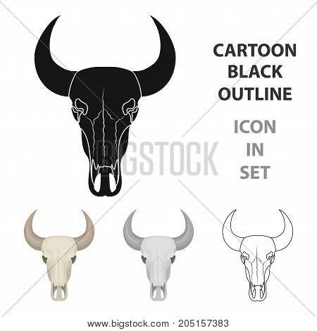 Bull skull icon in cartoon design isolated on white background. Rodeo symbol stock vector illustration.