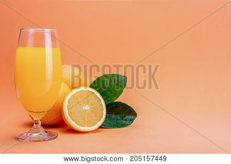 Orange Juice In Glass And Fresh Citrus Around  On Wooden Table Background Fruit Product Display Or M
