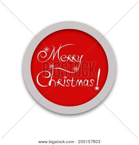 Red round Christmas sign greeting card for Christmas labels, tags.