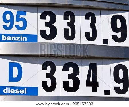 Prices at the gas station in the city