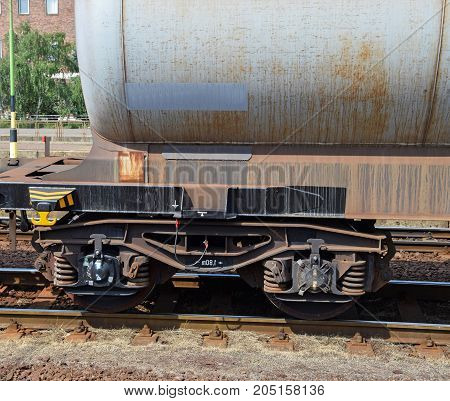 Part of a Fuel tanker railway carriages at the station