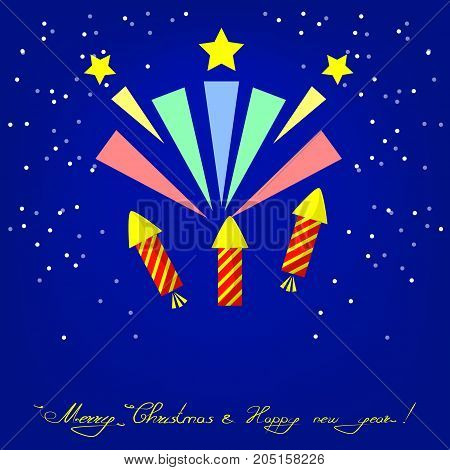 Merry Christmas and Happy New Year Greeting Card with firework and snow. Flat Illustration