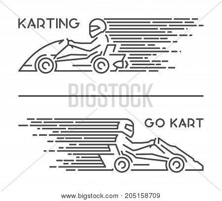 Vector line karting symbol and icon. Modern outline go kart logo.