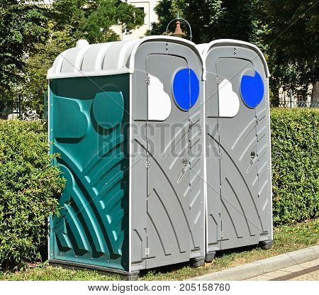 Portable toilets on the street in the city