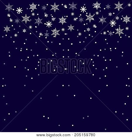 Christmass and New Year Blue Background with snowflakes. Flat Illustration