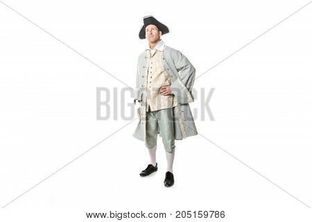 A man dressed as a courtier or prince on white background