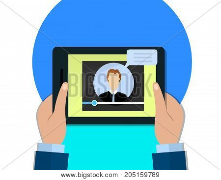 Hands holding tablet video player screen male blogger concept flat illustration