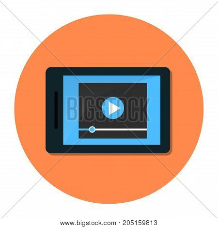 Tablet with video player on screen. Vector flat illustration.