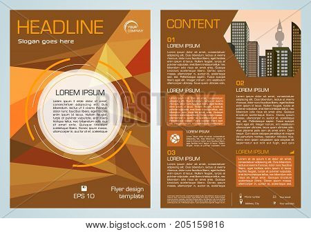 Vector Flyer, Corporate Business, Annual Report, Brochure Design And Cover Presentation With Brown T