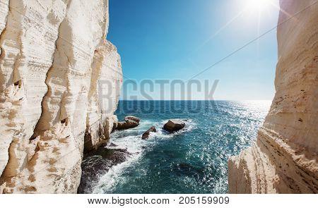 Waves and cliff at Rosh Hanikra reserve - Mediterranean sea, Israel