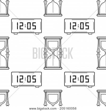 Hourglass and electronic watch. Black and white seamless pattern for coloring books, pages. Vector illustration.