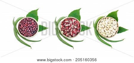 Set of different beans pods on a white background. An isolated object.