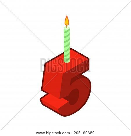 5 Number And Candles For Birthday. Five Figure For Holiday Cartoon Style. Vector Illustration