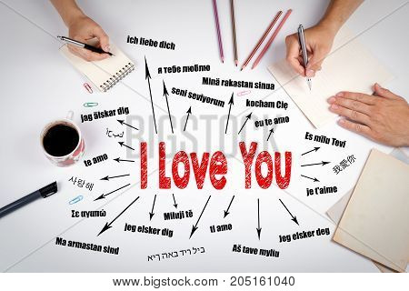 I love you Concept. Chart with text in different languages. Communication and love background. The meeting at the white office table.