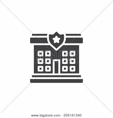 Police station icon vector, filled flat sign, solid pictogram isolated on white. Symbol, logo illustration.