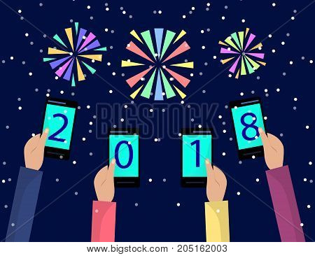 Concept of xmas and new year holidays celebration with fireworks for Greeting card design. Hands holding mobile phones. Flat illustration.