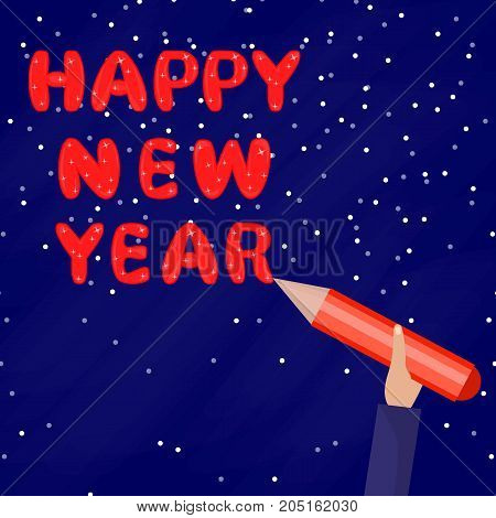 Happy New Year. A Man holds a pen and writes words on the Blue Background. Flat Ilustration