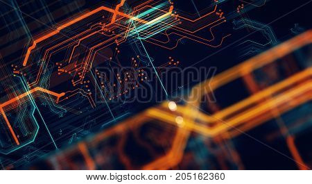 Abstract technological background made of different element printed circuit board and flares. Depth of field effect and bokeh. 3d Render