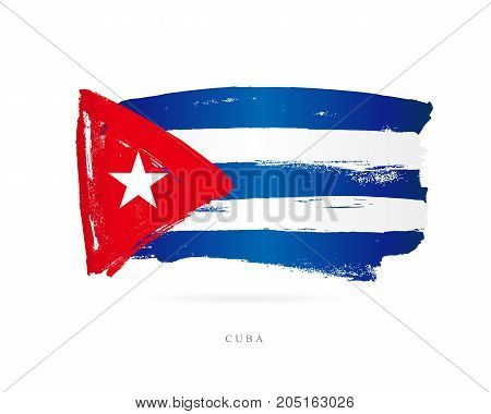 Flag of Cuba. Vector illustration on white background. Beautiful brush strokes. Abstract concept. Elements for design.