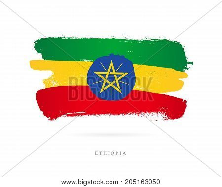 Flag of Ethiopia. Vector illustration on white background. Beautiful brush strokes. Abstract concept. Elements for design.