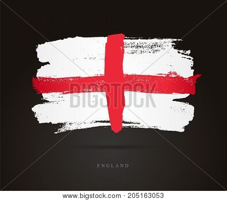 Flag of England. Vector illustration on a black background. Beautiful brush strokes. Abstract concept. Elements for design.