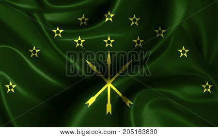 Realistic flag of Adygea on the wavy surface of fabric. This flag can be used in design